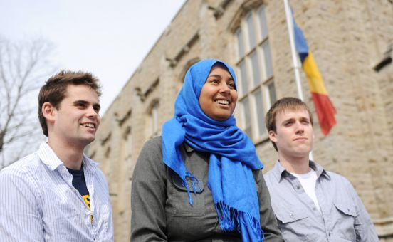 AMS President Safiah Chowdhury (centre), Vice-President (Operations) Ben Hartley (left) and Vice-President (University Affairs) Chris Rudnicki (right) consider their year in office an overall success.