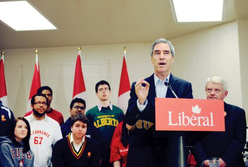 "Liberal leader Michael Ignatieff spoke before an audience of college and university students, promoting his party's ""Learning Passport"" which would give students at least $4,000 over four years to go towards post-secondary education."