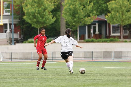 Queen's s midfielder Michelle Waintraub in action for Kingston FC.