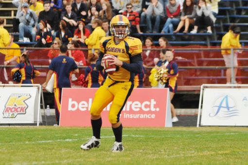 2009 Vanier Cup MVP Danny Brannagan worked closely with quarterback Billy McPhee during training camp.