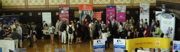 After a four-year dip in participants due to the economic recession, the Queen's career fair brought 86 organizations to Grant Hall for information sessions with students.