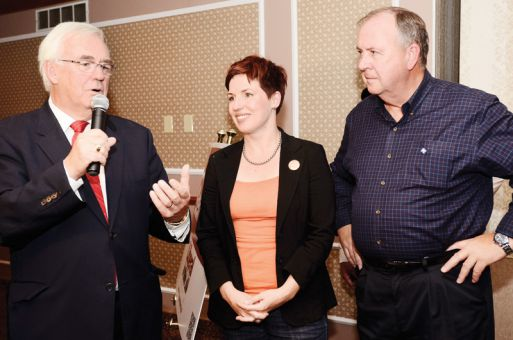 Liberal MPP for Kingston and the Islands John Gerretsen (left) won the riding with 48.8 per cent of the vote last night. New Democratic Party candidate Mary Rita Holland (centre) came in second and Progressive Conservative candidate Rodger James finished third.