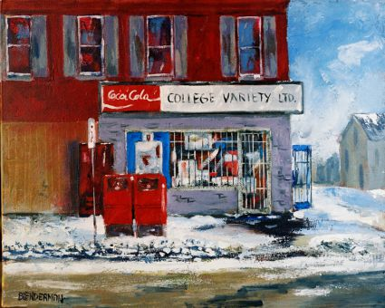 Local artist Bob Blenderman painted Campus One Stop in the winter of 1995 when it was under different management and called College Variety.