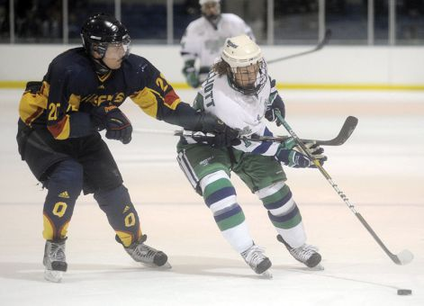 Gaels forward David Fitzpatrick battles with a Mercyhurst Lakers players during a game in Erie, Pa. last year.