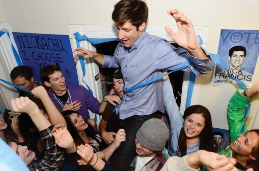 Nick Francis, ArtSci '13, celebrates Wednesday night after being elected Queen's 33rd rector. Francis won 52 per cent of the vote in the third round of preferential voting. See page 2 for full story.
