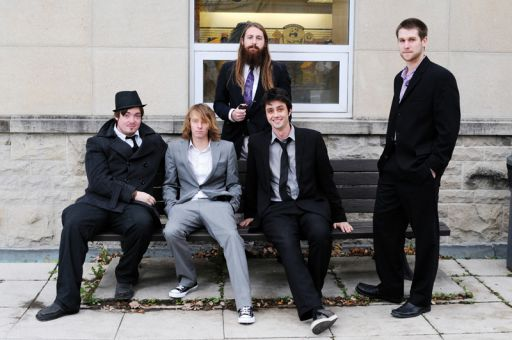 The Ten O'Clock people are James Gilbert (left), Colin Richards, Josh Wilson (standing centre), Sam Edwards and Alex Burnett (far right).