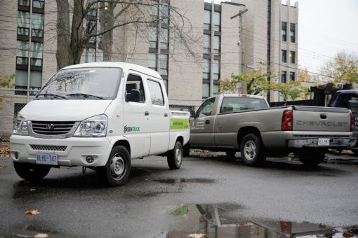 The Queen's Parking Department's truck can drive 65 kilometres before needing to be recharged.