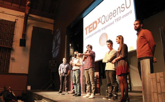 Student organizers address the crowd at last year's TEDx QueensU conference.