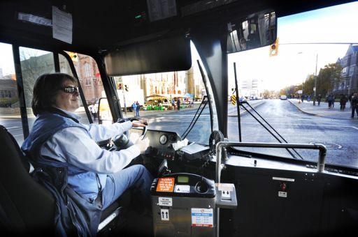 Christine Brazeau drives Routes 2 and 6 for Kingston Transit, taking student commuters from west campus to main campus daily.