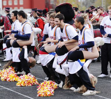 Queen's Bands cheerleaders perform during halftime at the Queen's football game against the Western Mustangs on Oct. 22 at Richardson Stadium.