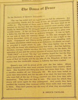 In 1918, then-principal Robert Bruce Taylor published this open letter in the Journal following the First World War's end.