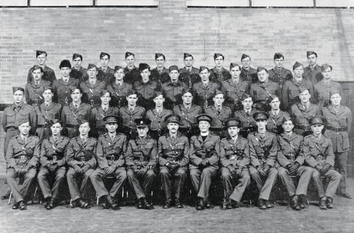 The Canadian Officers' Training Corps organized a Queen's University Contingent for battle in the Second World War. The 1942-43 group is pictured above.