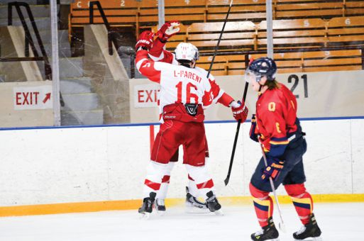 The McGill Redmen celebrate their game-winning goal in the third period on Friday.
