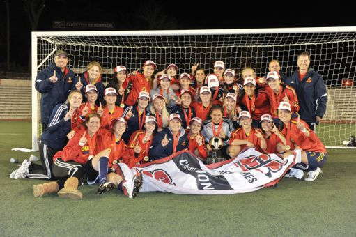 The women's soccer team is the first back-to-back champion at Queen's since 1985.
