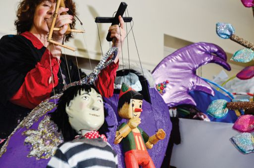Professional puppeteer Annie Milne performs with marionettes, puppets controlled from above by strings, at the Upper Canada Academy of Performing Arts in Kingston.