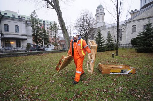 Corey Sands, a Kingston public works employee, clears Bouchard Park after the Occupy Kingston protestors left this morning.