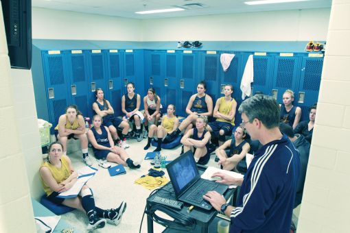 The women's basketball team watches head coach Dave Wilson conduct a video session at the ARC on Tuesday afternoon.