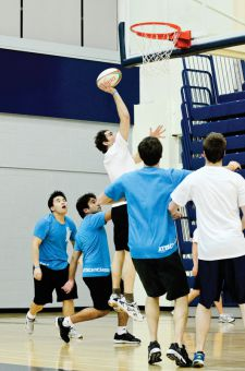 Kevin Proudfoot reaches for a point in rugby basketball.
