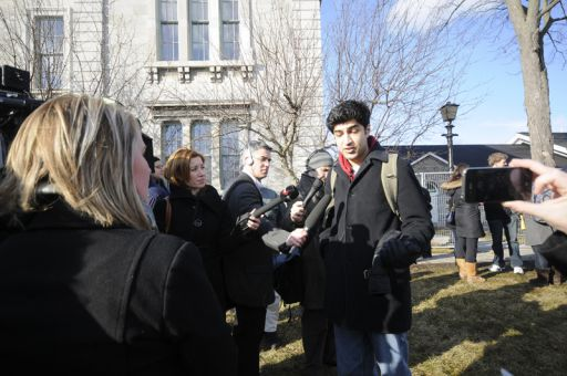 Second-year student Irfan Tahiri speaks to reporters outside the courthouse after the announcement of the guilty verdict.