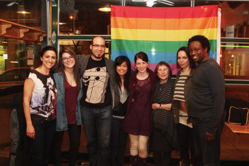 From left to right: slam poets Arianna Pozzuoli, Ali Pow, Matt Shultz, Sherry Huang, Winona Linn, Anne Graham, Raissa Killoran and Greg Frankson.