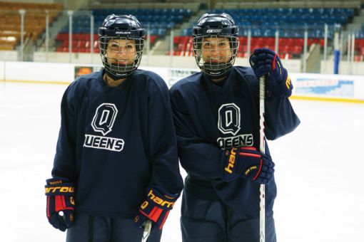 Morgan (right) and Brittany McHaffie are the women's hockey team's top scorers this season. Morgan currently leads the OUA with 34 points.
