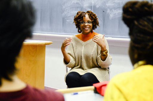 Activist, author and poet Anne-Marie Woods spoke to a crowd in Dunning Hall as part of the annual Black History Month