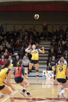 Outside hitter Becky Billings jumps to spike a ball during the Gaels' win over the Ottawa Gee-Gees in Sunday's OUA final.