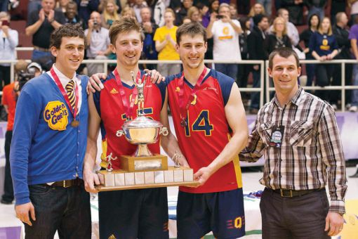 From left: Captains Dan Rosenbaum, Niko Rukavina and Jackson Dakin celebrate last weekend's OUA title.