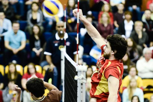 Karl De Grandpré spikes a ball in Laval's 3-1 semifinal win over Manitoba.