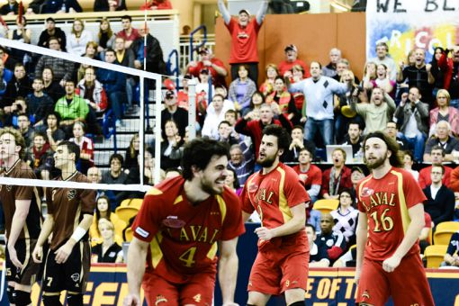 Laval Rouge et Or outside hitter Karl De Grandpré celebrates one of his 25 kills against the Manitoba Bisons during his team's CIS semifinal win on Saturday night.