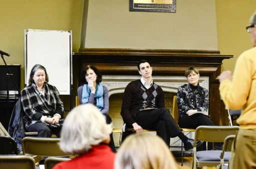 Members of the Principal's commission on mental health listen to speakers at the student forum held on Wednesday.