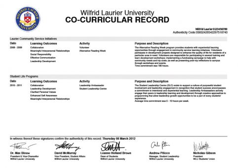 Wilfrid Laurier University introduced co-curricular records in 2004.