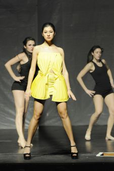 Jackie Paré in Vogue's opening number models an independent design.