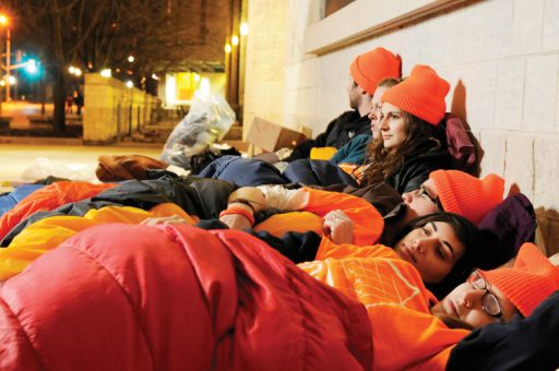Thirteen Law students camp out on campus to bring awareness to youth homelessness in Kingston. All proceeds will be going to the Kingston Youth Shelter.