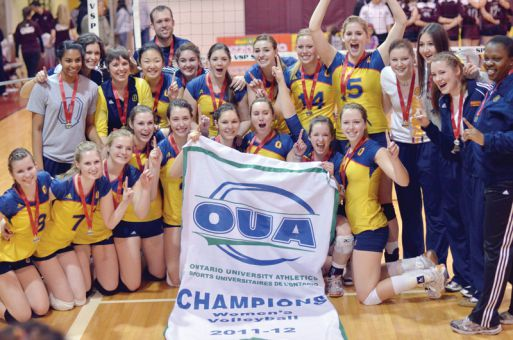 The women's volleyball team won their first-ever Ontario championship after beating the Ottawa Gee-Gees in the OUA final.