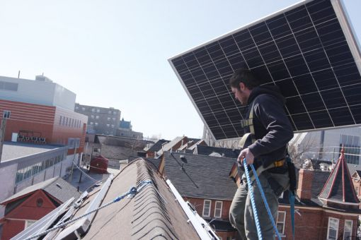 Nine student houses, including the one above, have had solar panels installed on their roofs.