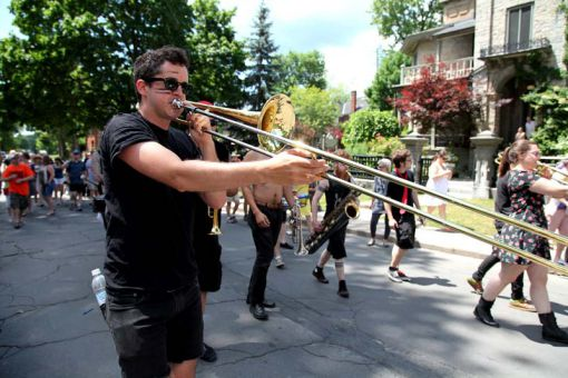 The What Cheer? Brigade came from Rhode Island to perform at the annual jazz festival.