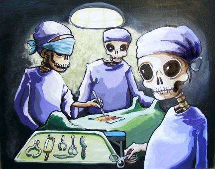 The cloaked victim on the surgical table in Modern Medicine represents Sherri Nelson's belief that doctors don't view patients as real people.