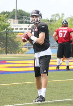 Brad Sinopoli (above) practices with the Calgary Stampeders at Queen's West Campus on July 10. He's the only Canadian quarterback currently on a CFL roster.