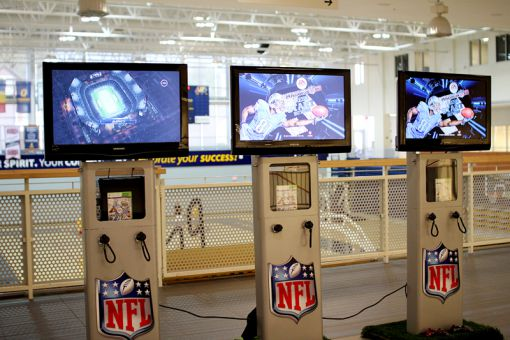 The NFL on Campus program is visiting Queen's until Wednesday. Students can play the video game Madden NFL 13 on Xbox consoles in the ARC.