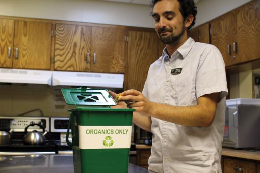 Office Organics places green bins in campus offices, diverting approximately 200 kg of organic waste from landfills each week.