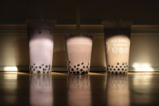 Taro bubble tea is made from milk, tea, taro and tapioca pearls known as boba. The three tested teas were from (left to right) Mekong, Green Tray and Classics Tea Lounge.