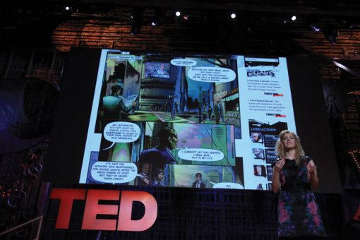 "In the above photo, game designer Jane McGonigal is sharing her ideas in a talk titled ""Gaming can make a better world."""
