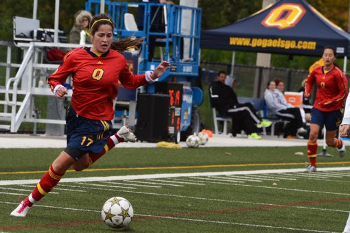 First-year striker Brittany Almeida netted a hat-trick in Queen's 9-0 rout of the Ryerson Rams last Sunday.
