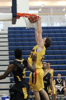 Forward Greg Faulkner scored 18 points last Sunday against Waterloo, including two dunks.