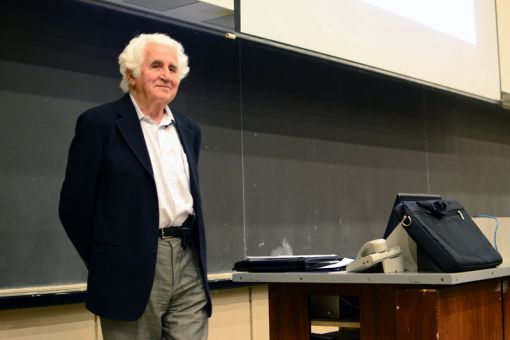 Bill Glied spoke to a crowd of 250 in Stirling Hall about his experiences in concentration camps during the Holocaust.