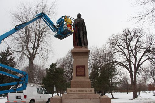 The vandalism of the statue fell on the 138th birthday of Canada's first prime minister.