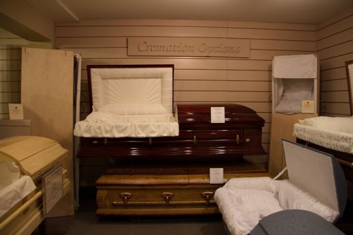 There are 17 caskets kept in the selection room at Robert J. Reid & Sons funeral home at Barrie and Johnson Streets.