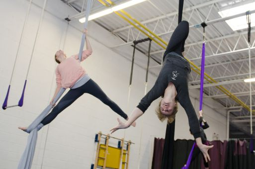 Students at Twisted can learn skills on aerial silks, building up their strength over weeks of classes.