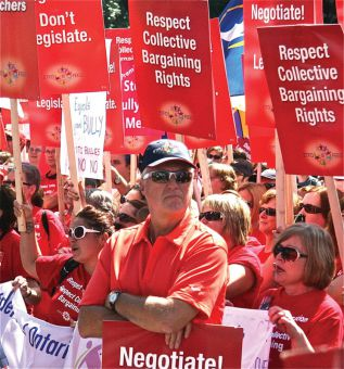 Collective bargaining was under fire through the passage of Bill 115 that imposed certain contracts on teachers.